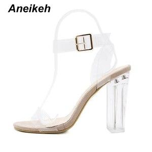 Image 4 - Aneikeh 2019 sandálias de salto alto transparente, de pvc, cristal, leopardo, salto alto, femininas, de 11cm e 41 42