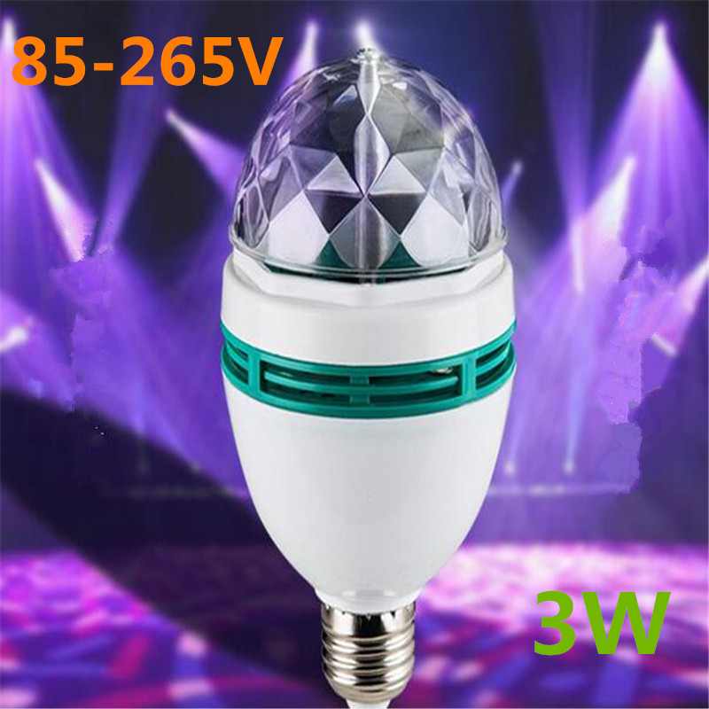 Colorful E27 3W Auto Rotating RGB LED Bulb Romantic Stage Light Party Lamp Disco For Home Decoration Lighting Lamp Free shipping e27 3w 16 colors auto rotating led stage light ac85 260v rgb christmas ktv party disco bulb laser projector