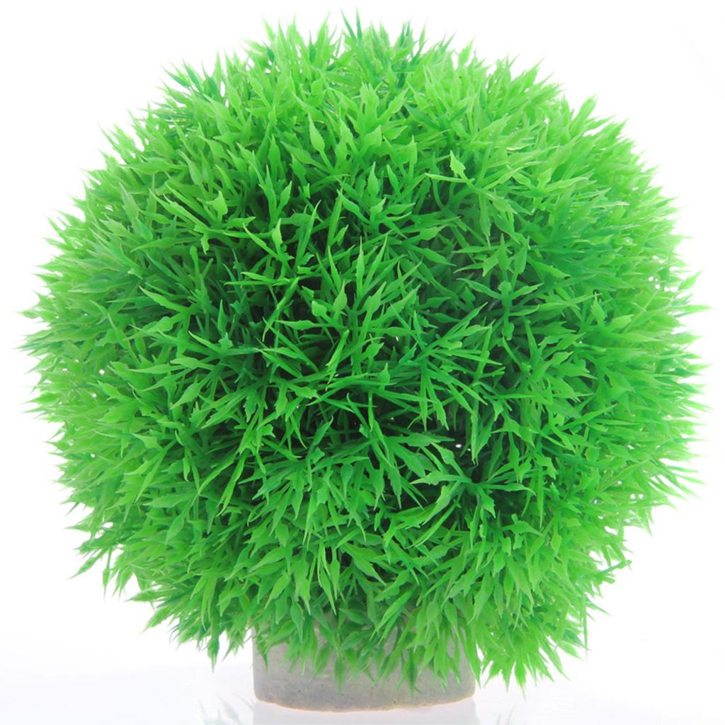 Short ornamental grasses - Free Shipping Hotsale Simulation Round Short Plant Artificial Pine Needle Grass Ball With Stand Tank Decor