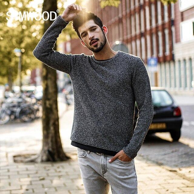 Simwood 2020 outono inverno nova camisola casual masculino lã colorida malha pullovers moda magro ajuste presente de natal mt017026
