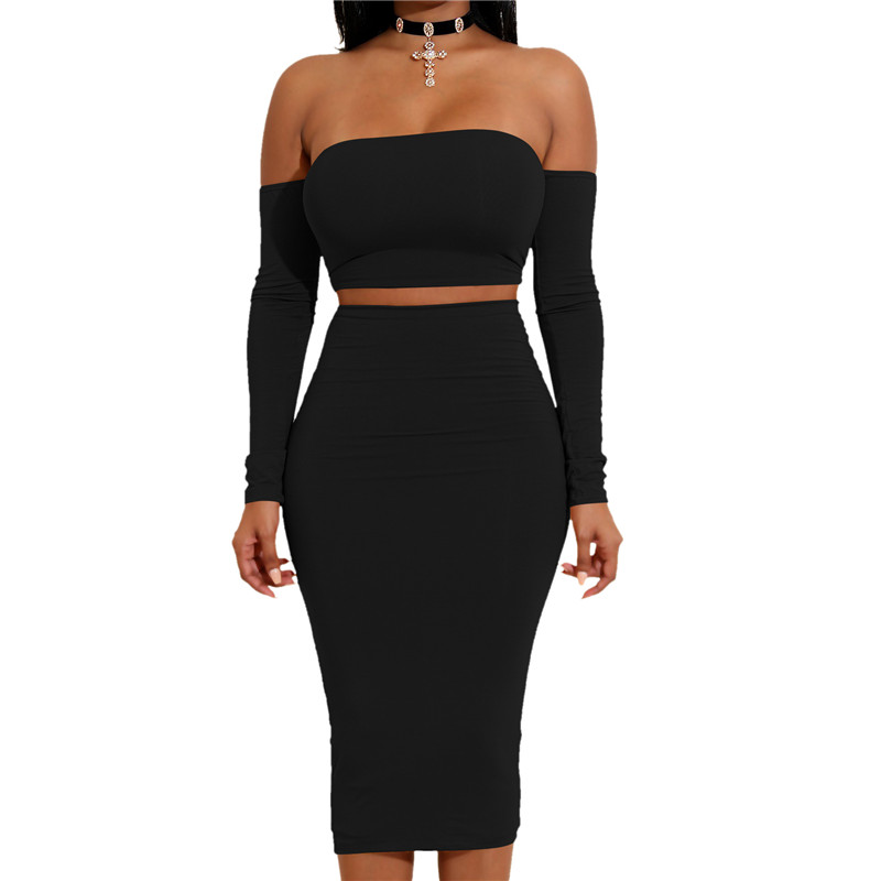 New 2 Piece Set Women Sexy Slash Neck Backless Tshirt Nightclub Pencil Skirt Mid-Calf & Short Cropped Top Tracksuit Women