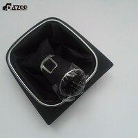 DAZOO Original 5 Speed Genuine Leather Gear Shift Knob with PU Cover For VW Jetta 5 6 GOLF 6 VI MK5 MK6 5KD 711 113 5KD711113