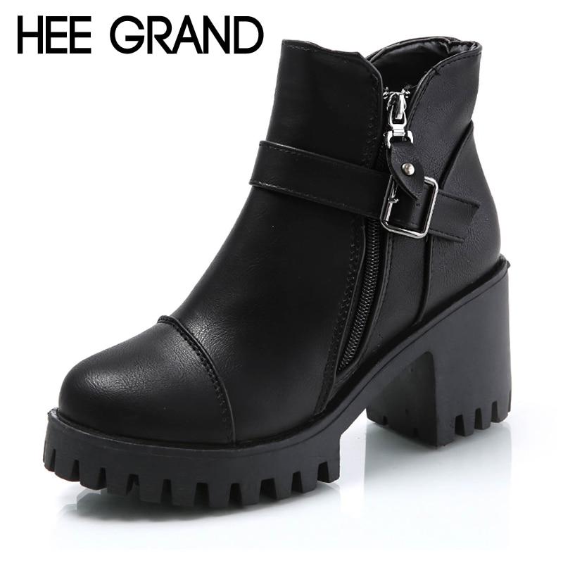 HEE GRAND Frauen Winter Stiefel Plattform High Heels Stiefeletten Frauen Mode Damen Pumps Sexy Schuhe Frau Größe 35- 39 XWX6848