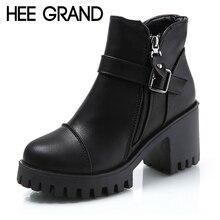 Hee grand/женские зимние ботинки на платформе, ботильоны на высоком каблуке, модные женские туфли-лодочки, пикантная женская обувь, Размеры 35-39, XWX6848