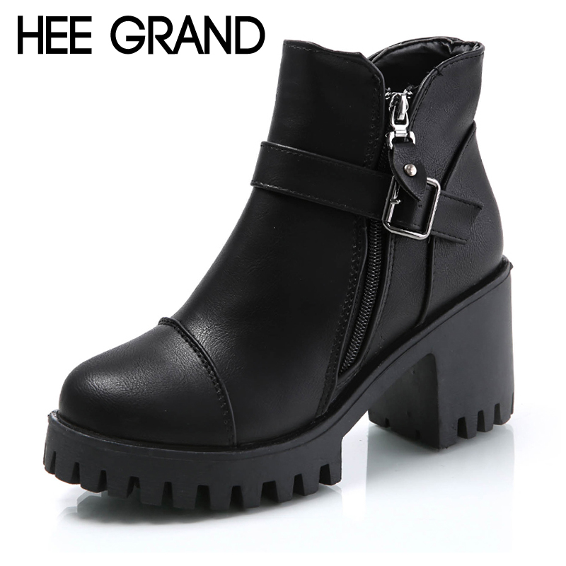 HEE gran mujeres botas de invierno botas plataforma de los altos talones tobillo botas mujeres de las señoras de moda bombas Sexy zapatos de mujer tamaño 35- 39 XWX6848