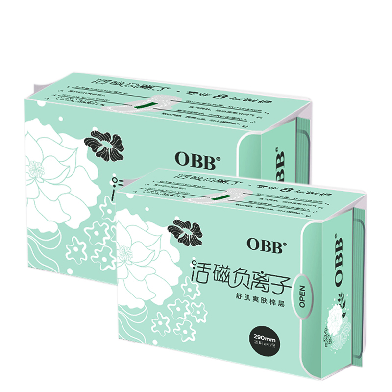 2Pack OBB Anion Sanitary Napkins Paper Pads Sanitary Towels 8 Pads/Pack Cotton Disposable Leakproof 290mm Overnight Use Fr Women