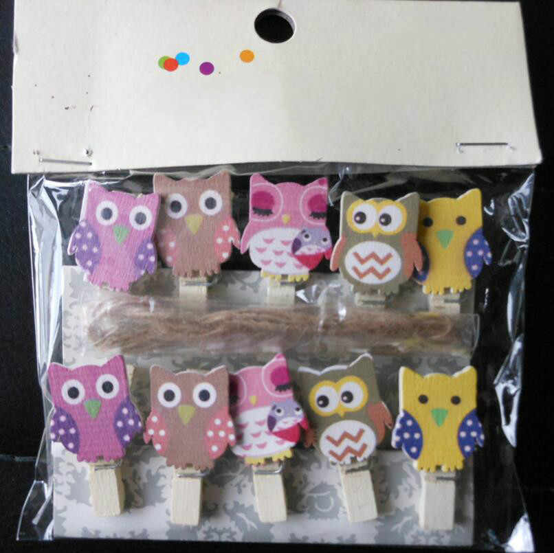 20 Pcs Cute Mini Owl Wooden Clips Cartoon Clip Photo Clip DIY Festive Party Supplies For A Small Gift To The Guest