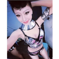 New Bar women costumes fashion female singer dj costume stage Space silver led dance costumes patchwork suit jazz dance costume