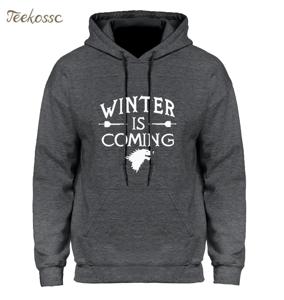 Game Of Thrones Hoodie Men 2018 Winter Autumn Fleece Warm Hooded Sweatshirt Wolf Slim Fit Lightweight Hoodies Mens For Gamers