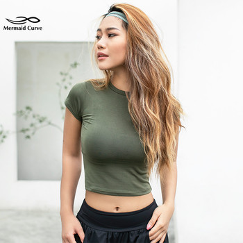 Mermaid Curve Women Yoga Shirts Sexy Sports Top  Fitness Crop Top Solid Running Tight T-shirts Gym Clothes Tank Tops Sportswear Top