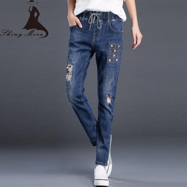2017 Nueva primavera otoño pantalones vaqueros de las mujeres ocasionales  mediados de pantalones vaqueros de cintura f83af8f8b5d
