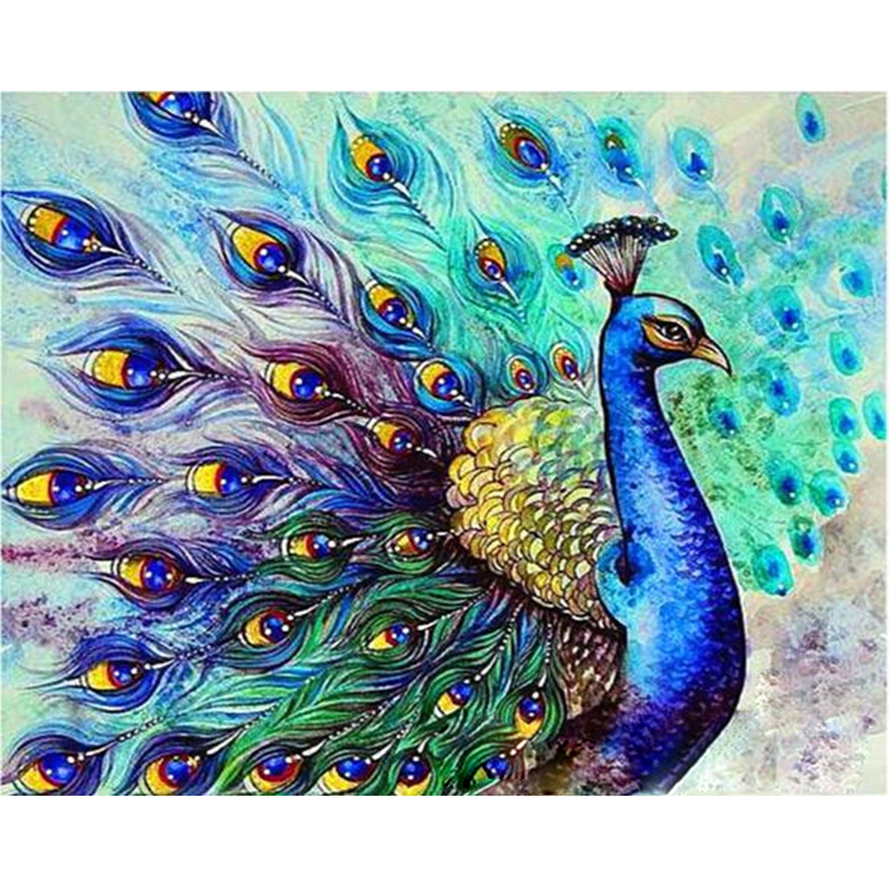 Big Discount  Painting By Numbers DIY Dropshipping 40x50 50x65cm peacock Open screen Animal Canvas Wedding Decora