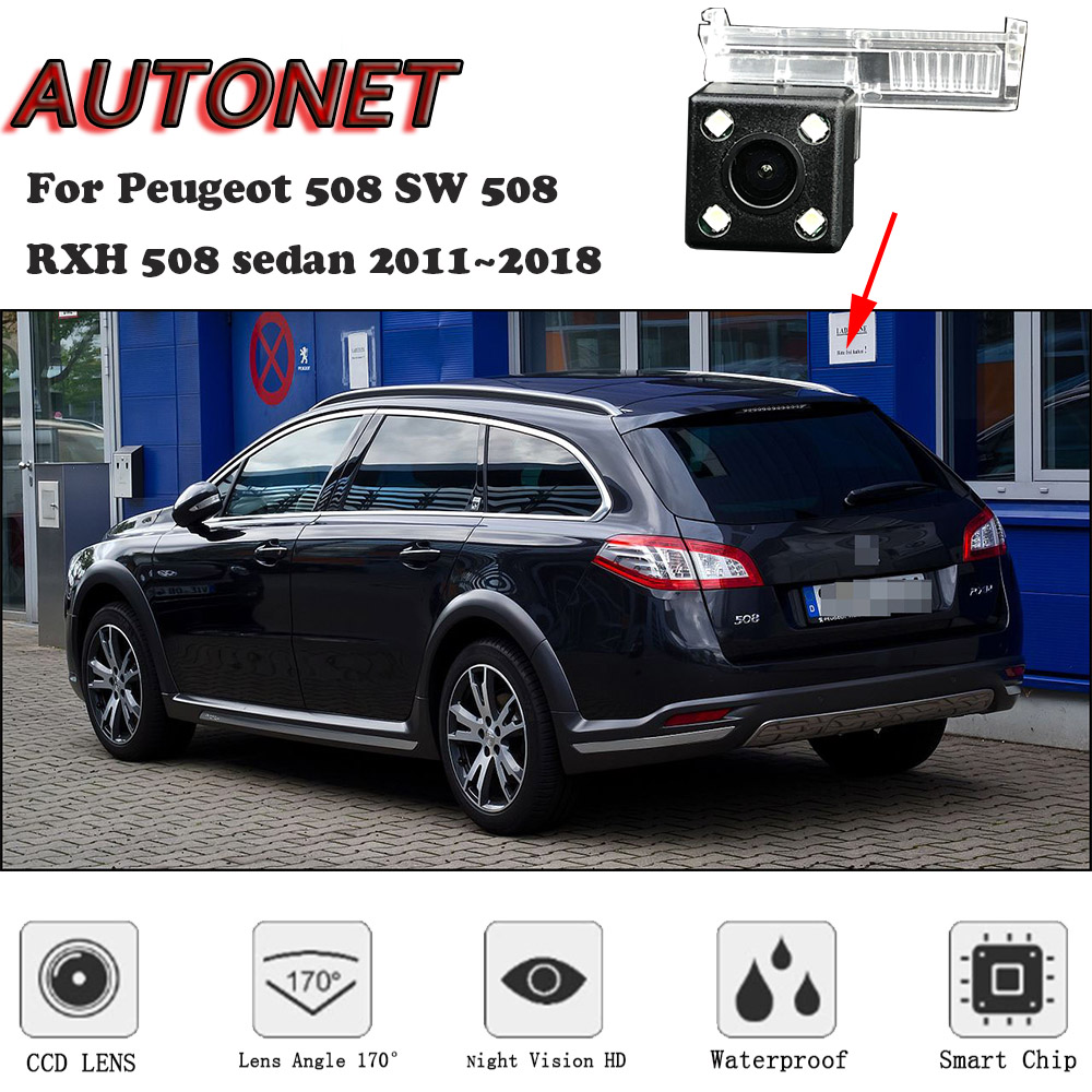 AUTONET HD Night Vision Backup Rear View Camera For Peugeot 508 SW 508 RXH 508sedan 2011~2018/Original Hole/license Plate Camera