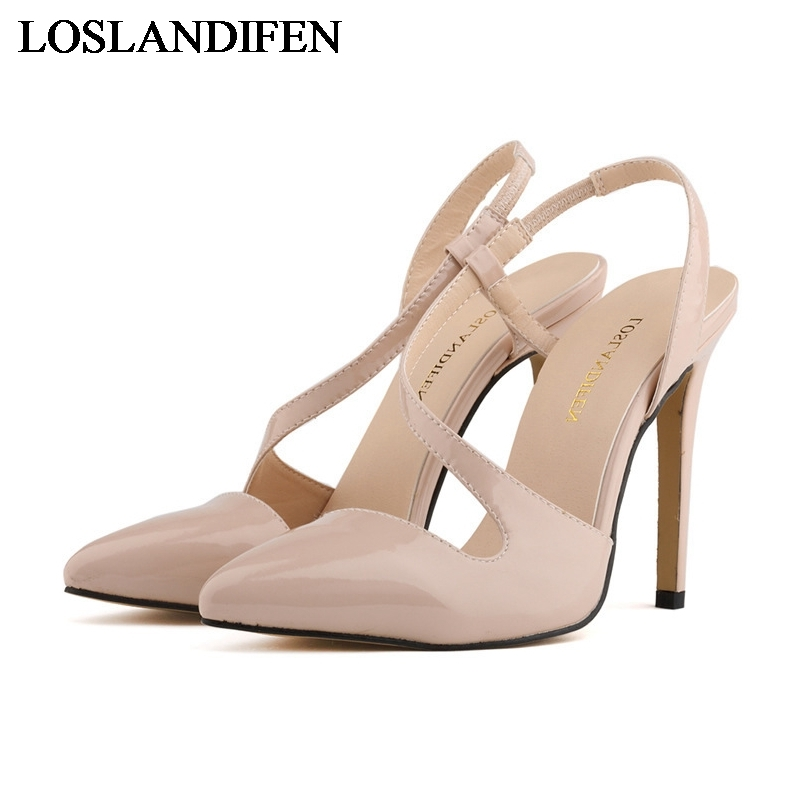 2018 Women Sandals Summer Pu Leather Fashion Women Shoes Buckle Pointed Toe Thin High Heel Women Sandals Size 34 42 NLK C0125 in High Heels from Shoes
