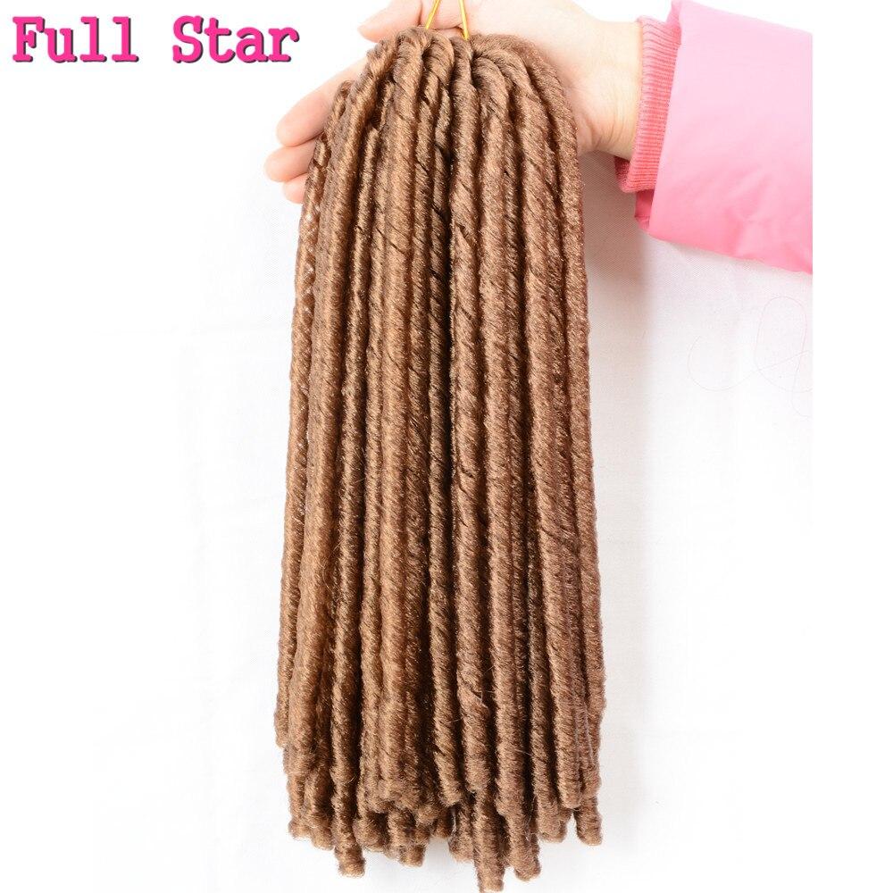 Full Star 14 inch 70g 1pcs Crochet Soft Faux Locs Braids hair Low Temperature Fiber Hair Extensions Brown Black synthetic Hair