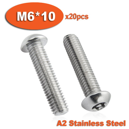 20pcs ISO7380 M6 x 10 A2 Stainless Steel Torx Button Head Tamper Proof Security Screw Screws