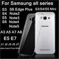 Transparente super slim tpu soft case para samsung galaxy note 2 3 4 5 j5 7 a3 5 7 8 s3 4 5 mini s6 s7 borda plus + limpar case