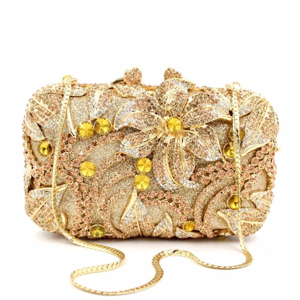 ФОТО 8212 colorN Crystal Flower Floral Lily Fashion Wedding Bridal hollow Metal Evening purse clutch bag handbag case box