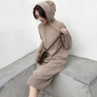 Autumn Winter New Korean Fashion Hooded Long Sweater Dress Midi Length Casual Loose Basic Thick Knitted Dresses Ladies robe pull