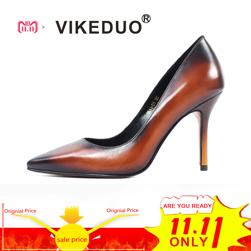 Vikeduo Vintage Women High Heels Shoes Pointed Toe Genuine Leather Party Wedding Ladies Pumps Plus Size Handmade Zapatos Mujer цены онлайн