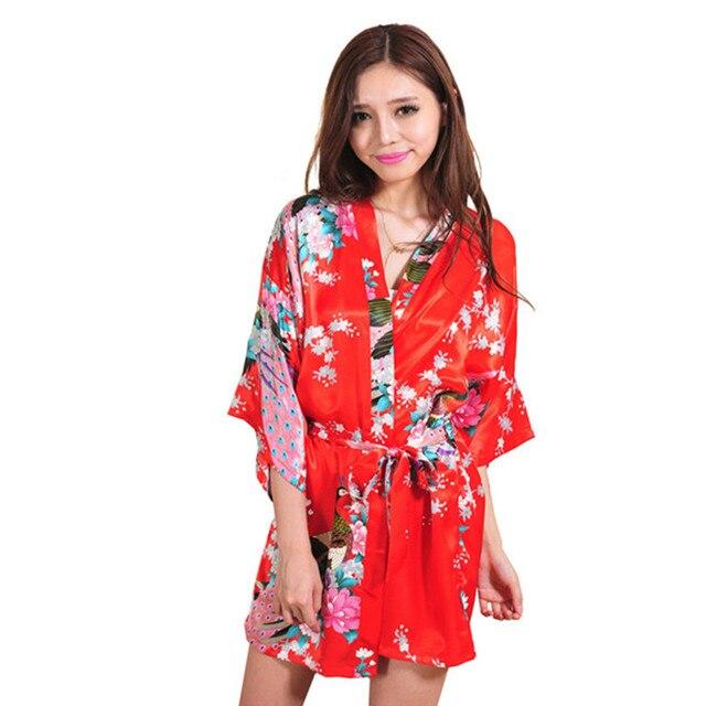 New Arrival Red Women's Bathrobe Chinese Robe Night Gown Mujer Pijama Sleepwear Yukata Flower Size M L XL XXL XXXL