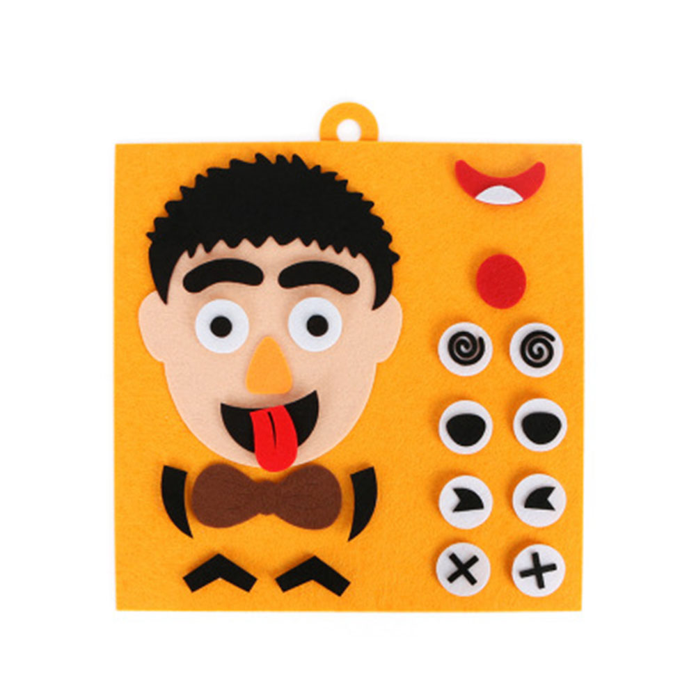 Creative Children Early Education Dad Mom Family Facial Expression Puzzle Fabric Material DIY Hand Making Toys