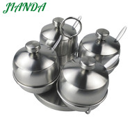 JIANDA Round Shape Sugar Bowl Stainless Steel Seasoning Jar Kitchen Condiments Pot Spice Container With Lid