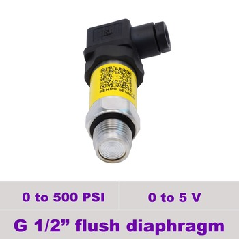 0 5v flush pressure sensor, 12 24 30V supply, 0 500 psi pressure, g1 2 inch flush, 0.5% accuracy, stainless steel 316L diaphragm
