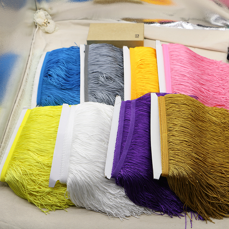 5 yardů / Lot 15cm a 20cm Šířka Polyester Stuha krajky Fringe Ořezávání pro DIY latinské šaty Čipky Příslušenství oblečení