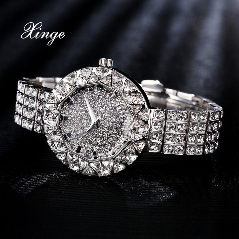 Xinge Brand 3A Zircon Watch Luxury Silver Crystal Bracelet Watches Women Stainless Steel Luxury Wrist Watch 30m Waterproof Clock xinge top brand luxury women watches silver stainless steel dress quartz clock simple bracelet watch relogio feminino