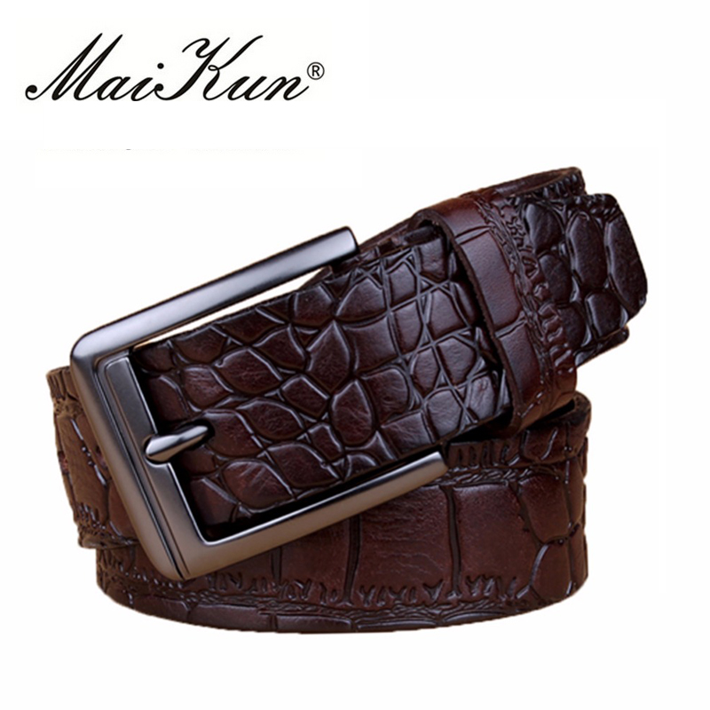 पुरुषों के बेल्ट के लिए Maikun बेल्ट मगरमच्छ त्वचा मुद्रित पुरुष बेल्ट व्यापार के लिए उच्च गुणवत्ता डिजाइनर बेल्ट