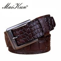 Men S Genuine Leather Belt Classic Crocodile Embossed Waist Belt