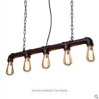 Loft American Industrial Style Pendant Light Retro Rustic Steampunk Metal Pipe Edison Bulbs For Bar Pendant Chain Iron Lamp