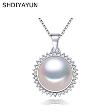 SHDIYAYUN Fine Pearl Necklace Jewelry Natural Freshwater 925 Sterling Silver Pendants Diamond