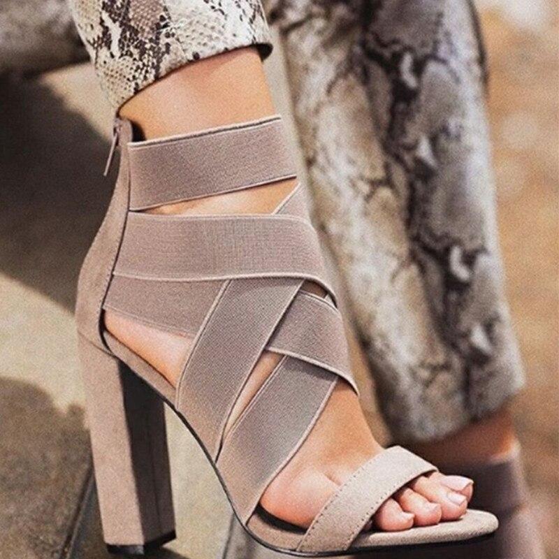 Shoes Woman Sandalias Block-Heels Cross-Bandage Bridal Sexy New-Arrival Pu