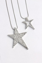 Korean Silver Rhinestone Doulbe Star Hollow Out Pendant Long Chain Necklace Jewelry For Women stylish rhinestone heart hollow out pendant necklace for women
