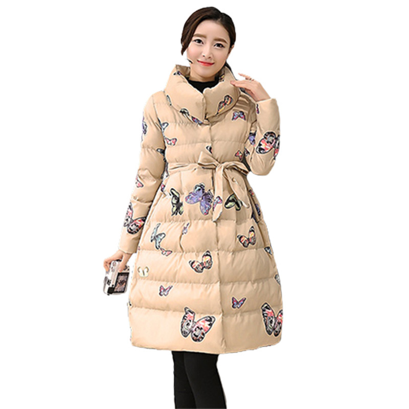 все цены на Wadded Padded Jacket Female 2017 Winter Jacket Women Butterfly Long Parka Stand Collar Elegant Cotton Coat Manteau Femme C3678 онлайн