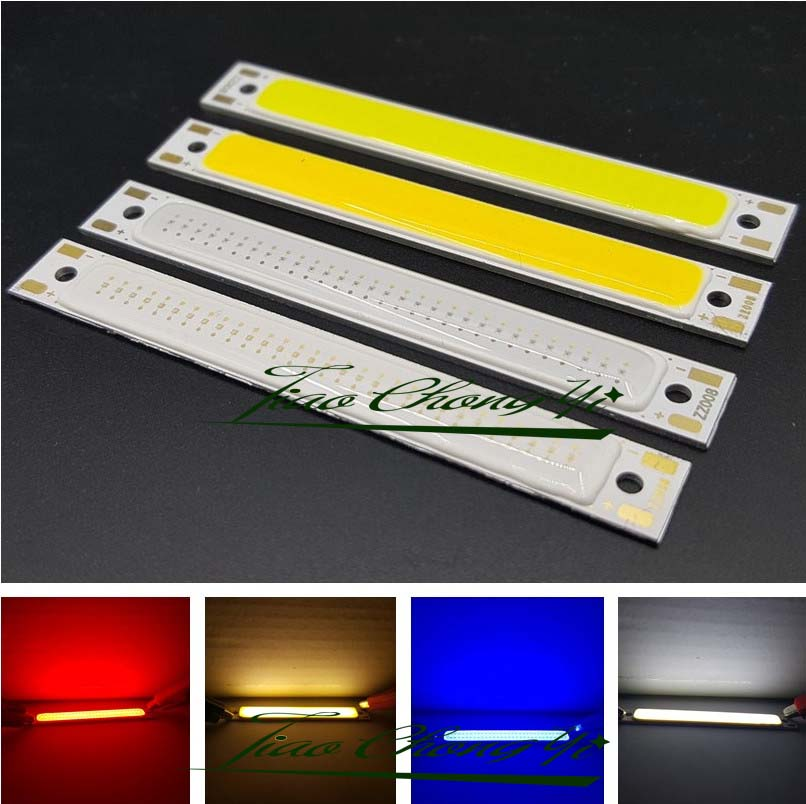 10pcs 3v 3w L60x8mm red light blue light cold white cob led module 70lm COB strip 20w 2000lm 6000k cob led white light module silver yellow 32 36v