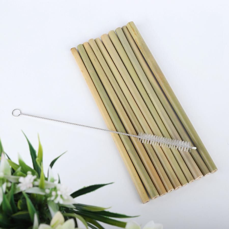 Foldable Straw Metal Drinking Straw Eco-Friendly 10Pcs Bamboo Drinking Straws Reusable With 1pc Clean Brush Reusable Straws