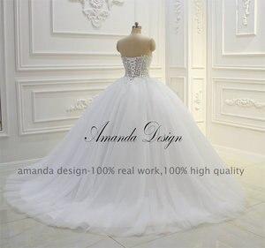 Image 5 - Amanda Design bez ramiączek przepuszczalność koronki suknia balowa z aplikacjami suknia ślubna