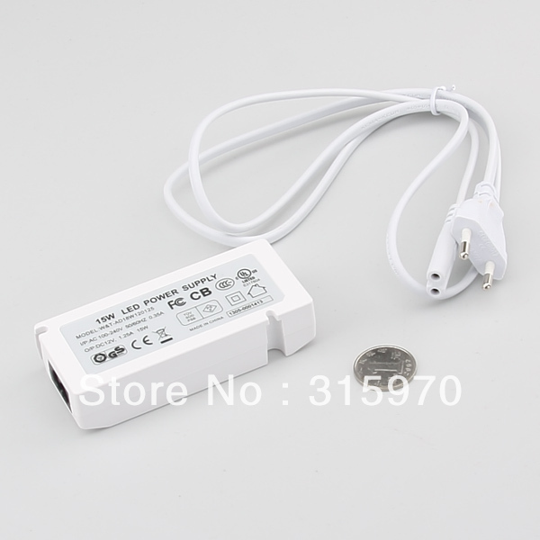 15W Led Cabinet Light Power Driver AC100-240VDC Input  DC12V Output  with 6P Junction Box