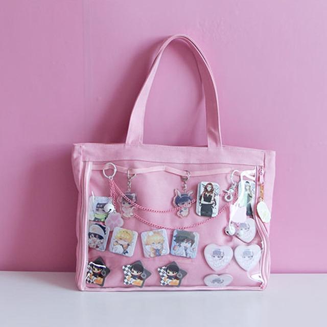 Japanese Wego Ita Bag Kawaii Transparent Window Lolita Canvas Handbag  Shoulder Bag Candy Color Lovely Itabag 2e47797833