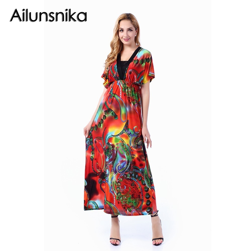 Ailunsnika Women Orange Short Sleeve V Neck Backless Long Print Dress Bohemian Beach Maxi Dress 2018 Vestidos Mujer SW228-11