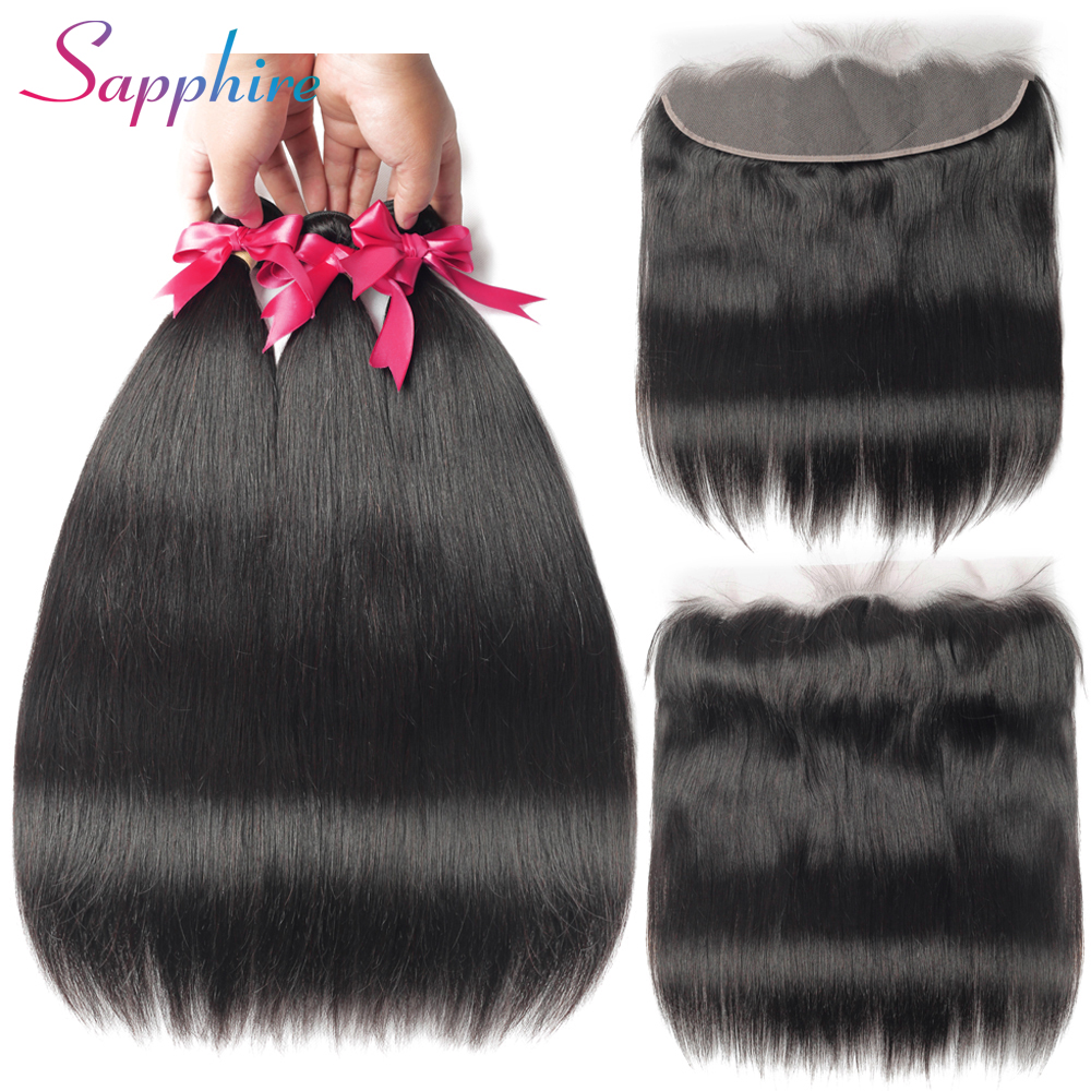 SAPPHIRE Bundles With Frontal Peruvian Straight Hair Non Remy 3 Bundles With Lace Frontal Closure 100