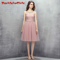 Angel Tree New Arrival Romantic Cut Out Short Evening Dress Crystal Sash Organza Zipper Ruched Customized