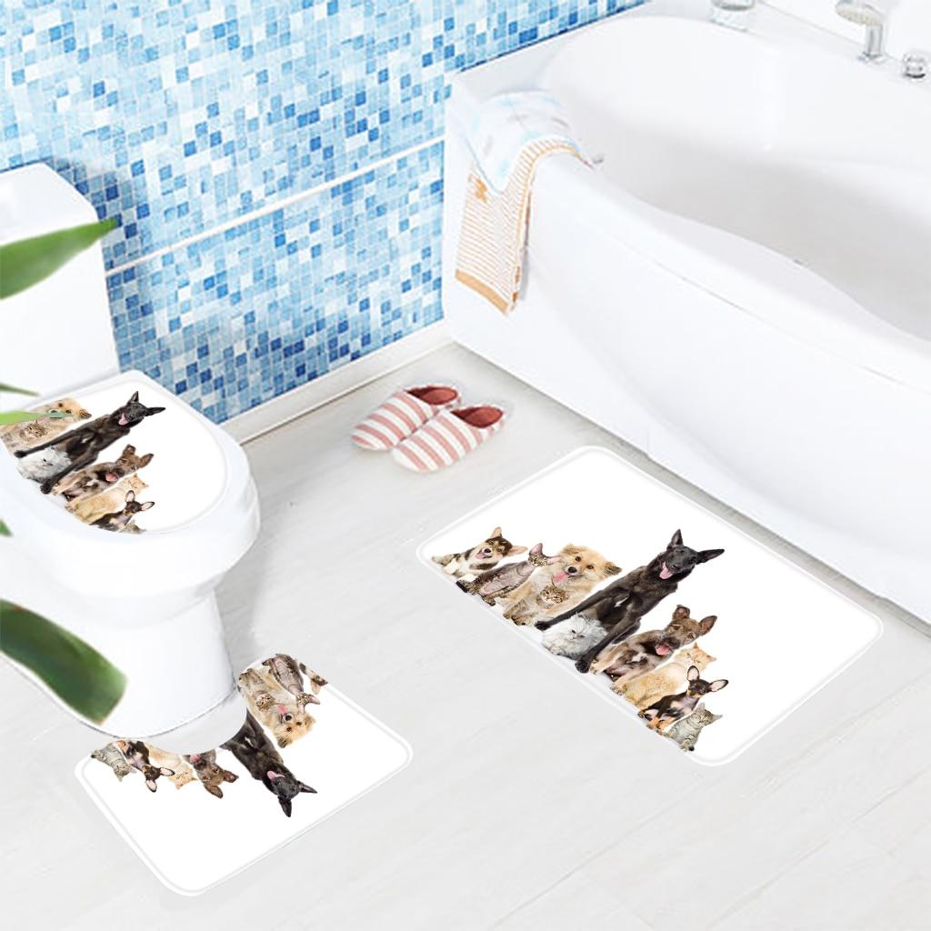 Funny bathroom rugs - 3pcs Bathroom Mat Set Microfiber Bath Mat Animals Printed Toilet Mat Cats And Dogs Bathroom Rug