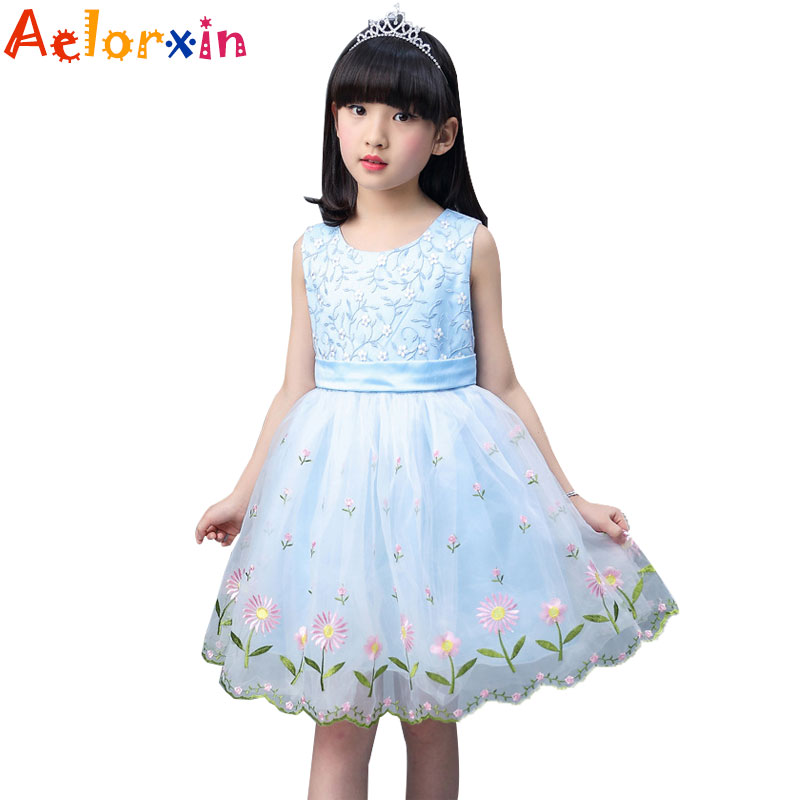 Kids Lace Dresses For Girls Summer Embridery Flowers Dresses Vestdios Infant Children Formal Clothes 4 8 10 12 Years Girls Dress