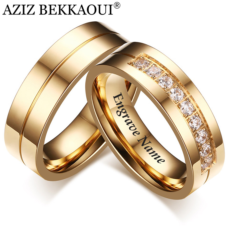 Wedding-Rings Jewelry Promise-Band Engrave Couple Engagement Name Stainless-Steel Women