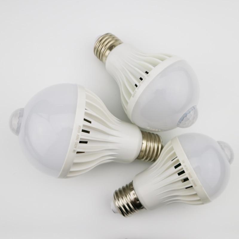 Купить с кэшбэком LED PIR Motion Sensor Lamp 3W 5W 220v Led Bulb 7W 9W Auto Smart Led PIR Infrared Body Sound Light E27 Motion Sensor Light