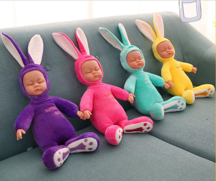 26CM Rabbit Plush Stuffed Baby  Doll Simulated Babies Sleeping Dolls Children Toys Birthday Gift For Babies doll reborn 6pcs plants vs zombies plush toys 30cm plush game toy for children birthday gift